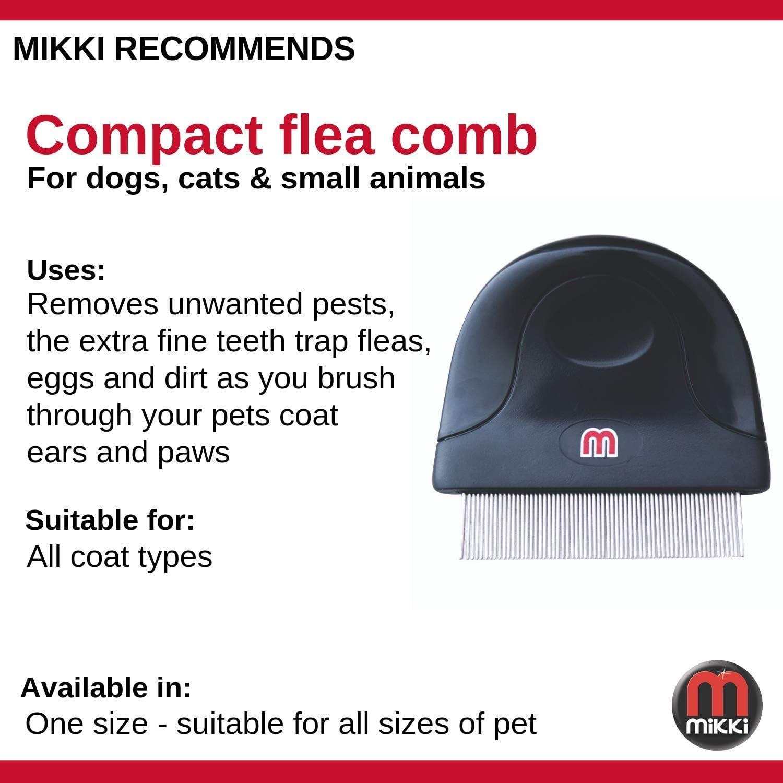 Dust Flea Lice Comb Brush for Small Medium and Large Pets Mikki Dog Puppy Cat Compact Flea Comb