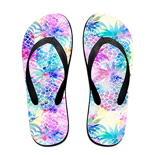 ce2d8a8b90987a Watercolor Pineapple Fancy Dream Unisex Fashion Beach Slipper Indoor And Outdoor  Classical Flip Flops Thong Sandals