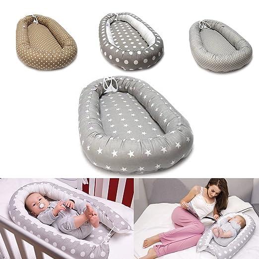 Baby Nest Nido de manta Cuna Baby Cuna viaje cama cojín 80 x 40 cm, 100% algodón, Grau -Sterne Nr. 23, 80 x 40 cm