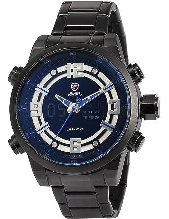 Shark SH341 - Reloj para Hombres, Correa de Acero Inoxidable Color Negro: Amazon.es: Relojes
