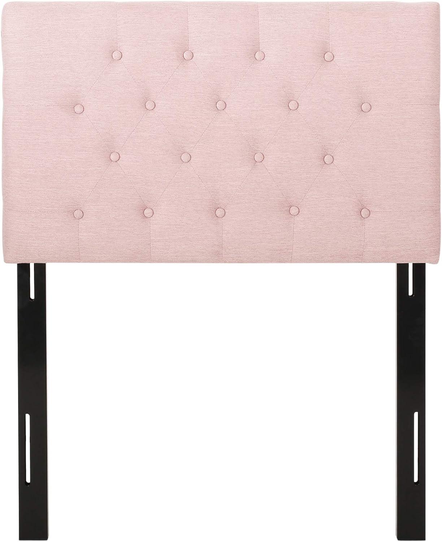 Christopher Knight Home Zenobia Upholstered Twin Headboard, Light Blush, Black