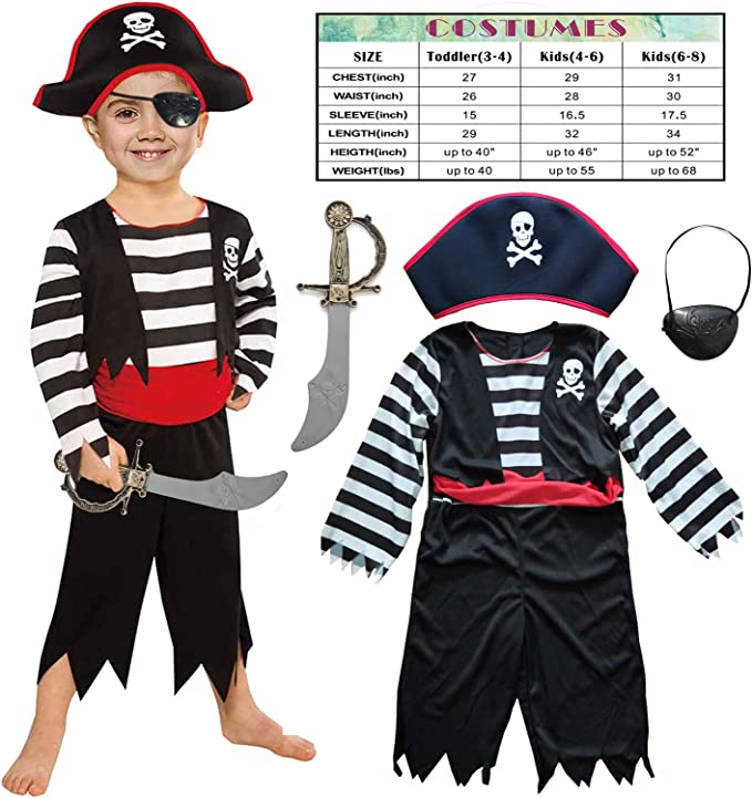 Amazon.com: Disfraz de pirata para niños y niñas con traje ...