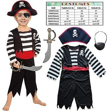 Sincere Party Disfraz de niño Pirata Infantil con Sombrero, Espada ...