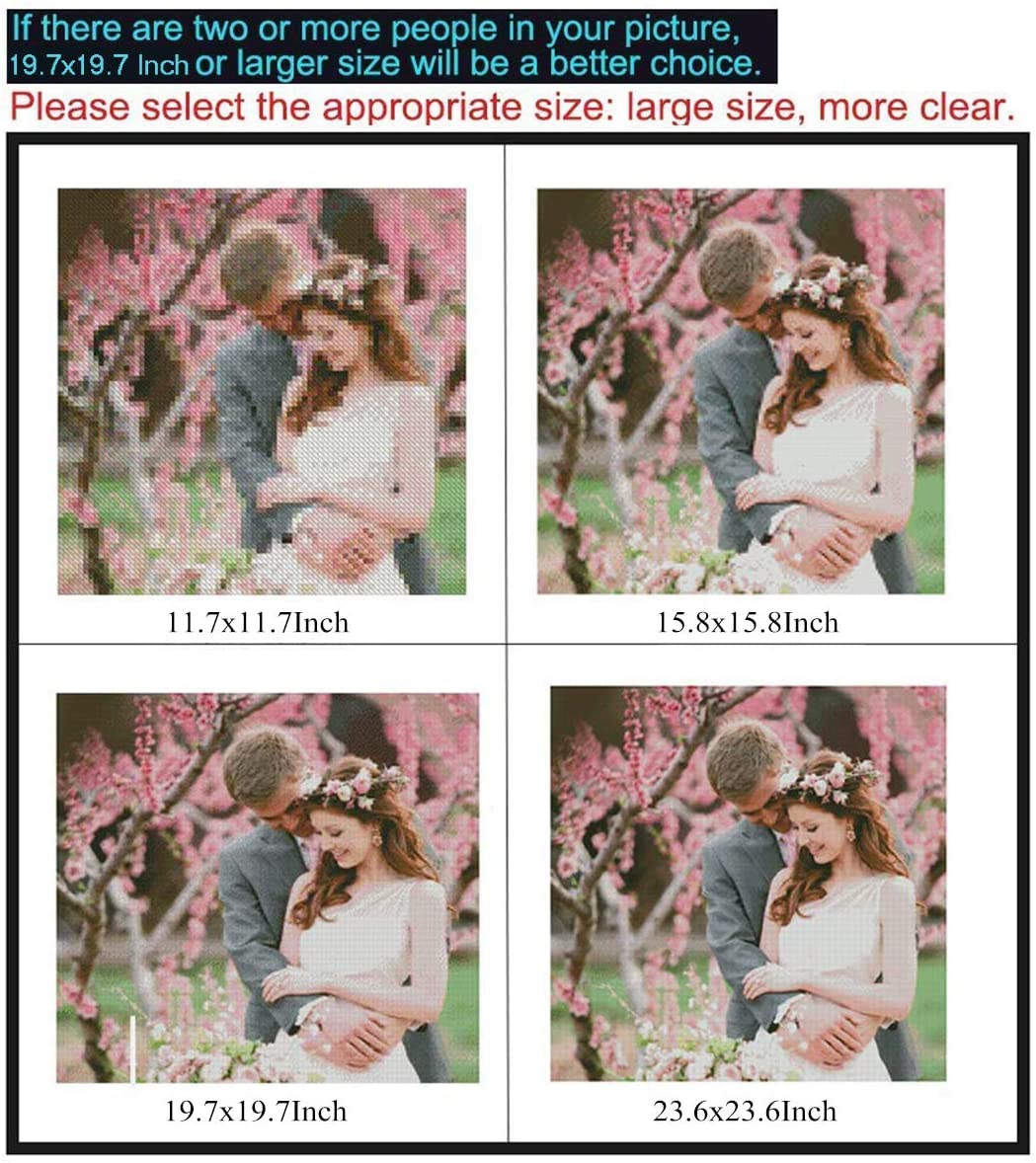 Square Beads, 11.7x15.8 inch Custom Diamond Painting Kits for Adults,Full Drill Personalized Photo Family Wedding Photo with Round//Square Beads for Home Decor