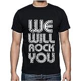 t-shirt we will rock you h t-shirt, cadeau, homme, noir, t shirt homme