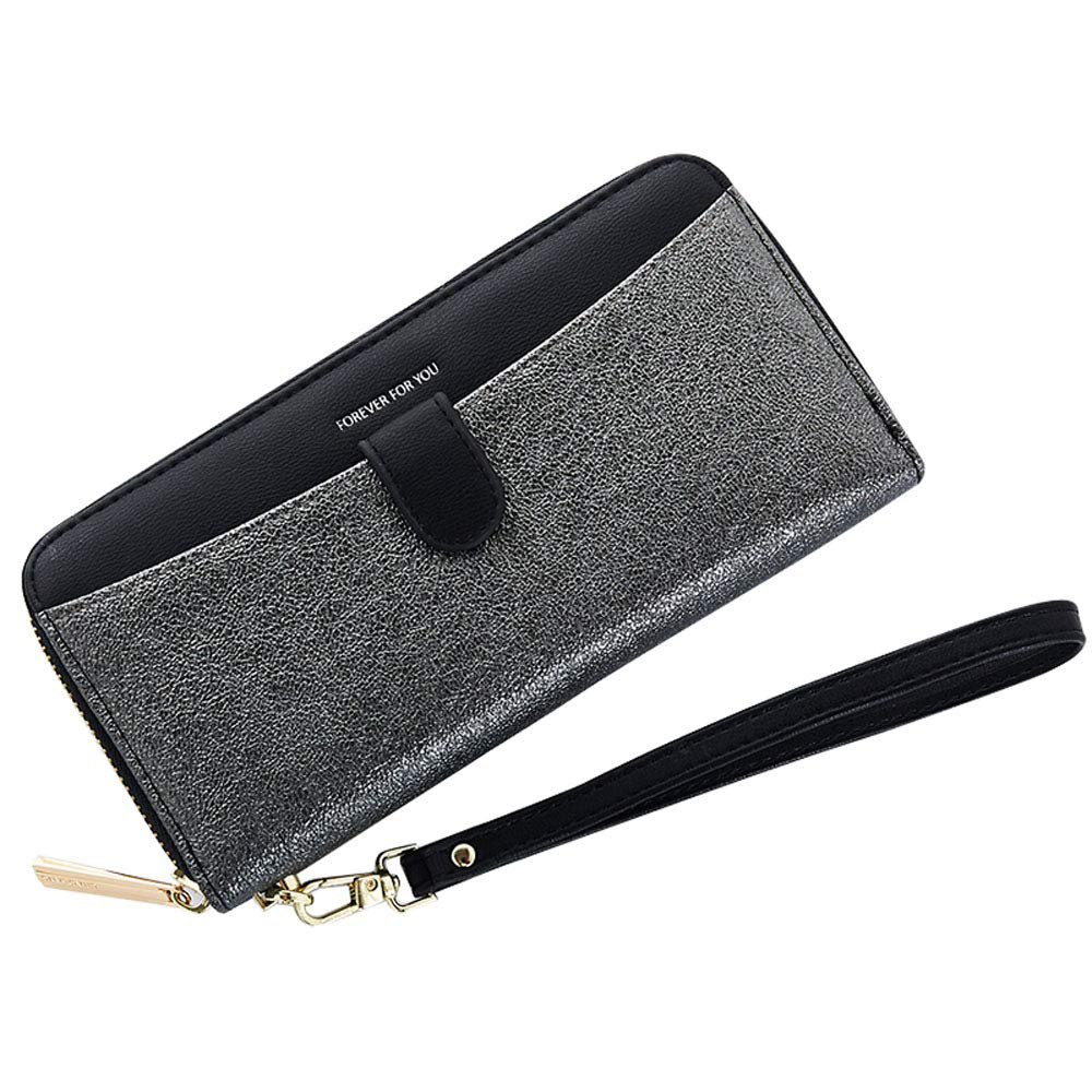 Cyanb Women Bifold Clutch Wallets Iphone Wristlet Purses for Women Lady with Zipper and Wrist Strap Black by Cyanb
