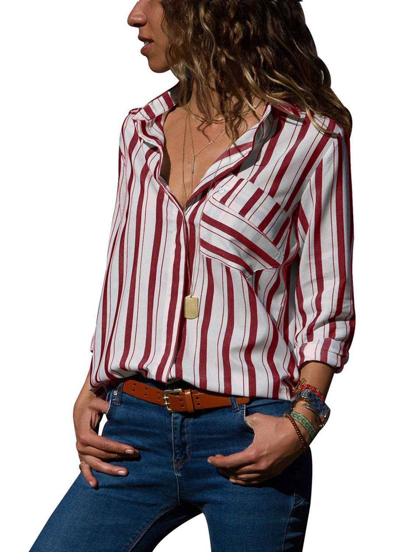 f6b6a7dee9c223 AitosuLa Bluse Gestreift Damen Hemd Oberteile V-Ausschnitt Lose Casual  Chiffon Langarm T-Shirt