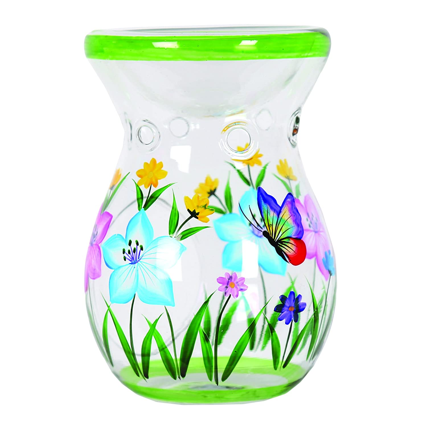 Aroma Accessories Hand Painted Butterfly Wax Melt Burner, Green, 14 cm VC1008