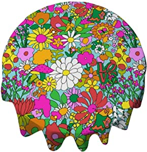 yyone Tablecloth Round 50 Inch Fashion Circle Table Cover 60'S Groovy Garden in Blue Table Cloth Decor for Buffet Table, Parties, Holiday Dinner, Wedding