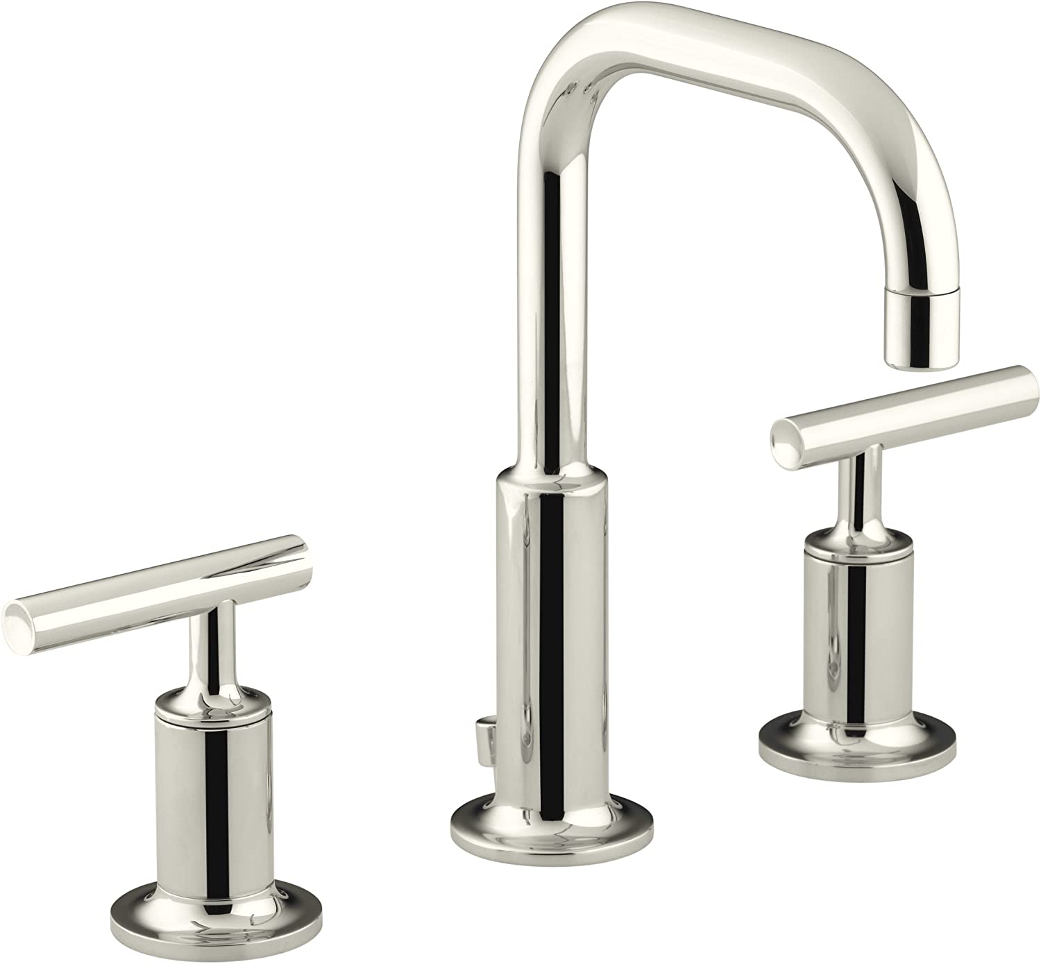KOHLER Purist K-14406-4-SN Widespread Bathroom Sink Faucet with Metal Drain Assembly in Polished Nickel