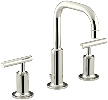 KOHLER K-14406-4-SN Purist Widespread Lavatory Faucet with Low ...