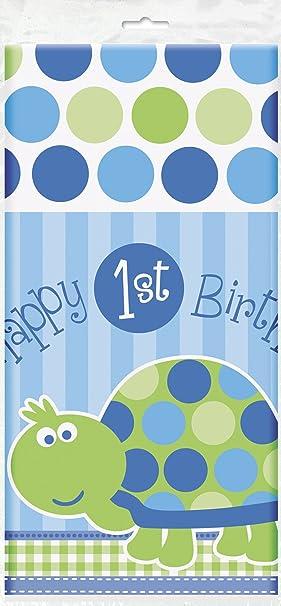 Mantel de Plástico - 2,13 mx 1,37 m - Fiesta de Primer Cumpleaños de Tortuga Azul