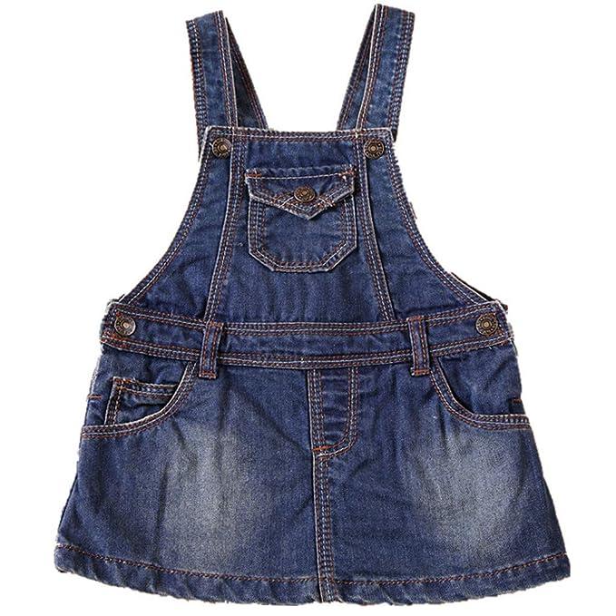 NOROZE Girls Denim Dungaree Jeans Top Pinafore Skirt