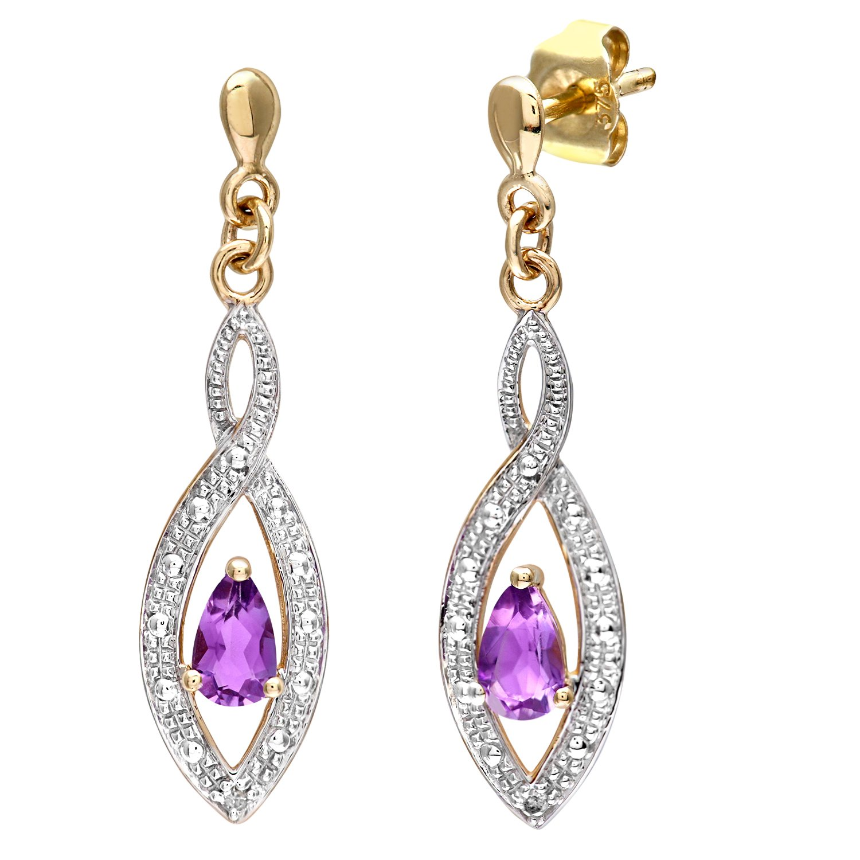 Naava Pendientes para Mujer de Oro Amarillo K con Diamantes y Amatistas