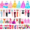 BARWA 36 Pack Doll Clothes and Accessories 5 PCS Fashion Dresses 5 Tops 5 Pants Outfits 3 PCS Wedding Gown Dresses 3 Sets Swi