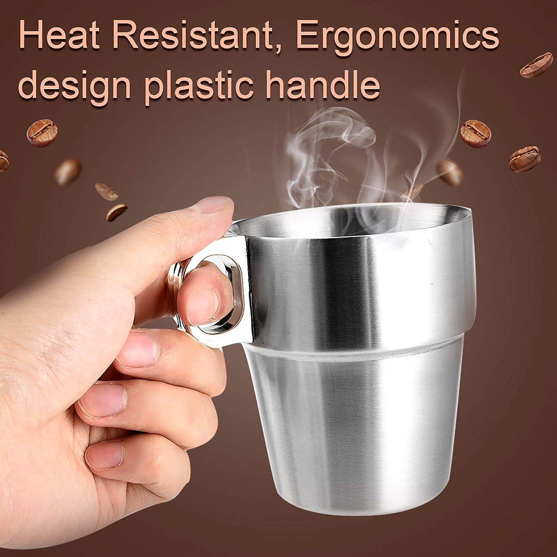300 ml Edelstahl Kaffeetassen Tee Tassen Unzerbrechlich Stapelbar Metall