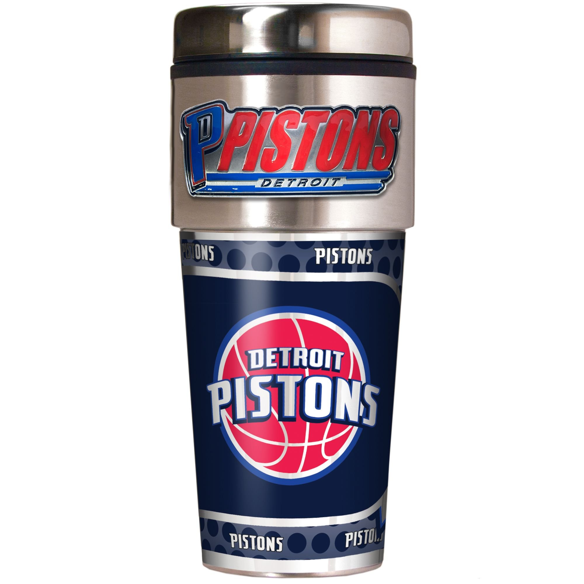 NBA Detroit Pistons Metallic Travel Tumbler,  16-Ounce by Great American Products