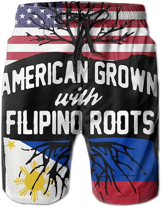 STDKNSK9 Mens Philippines American Flag Boardshorts Swim Trunks