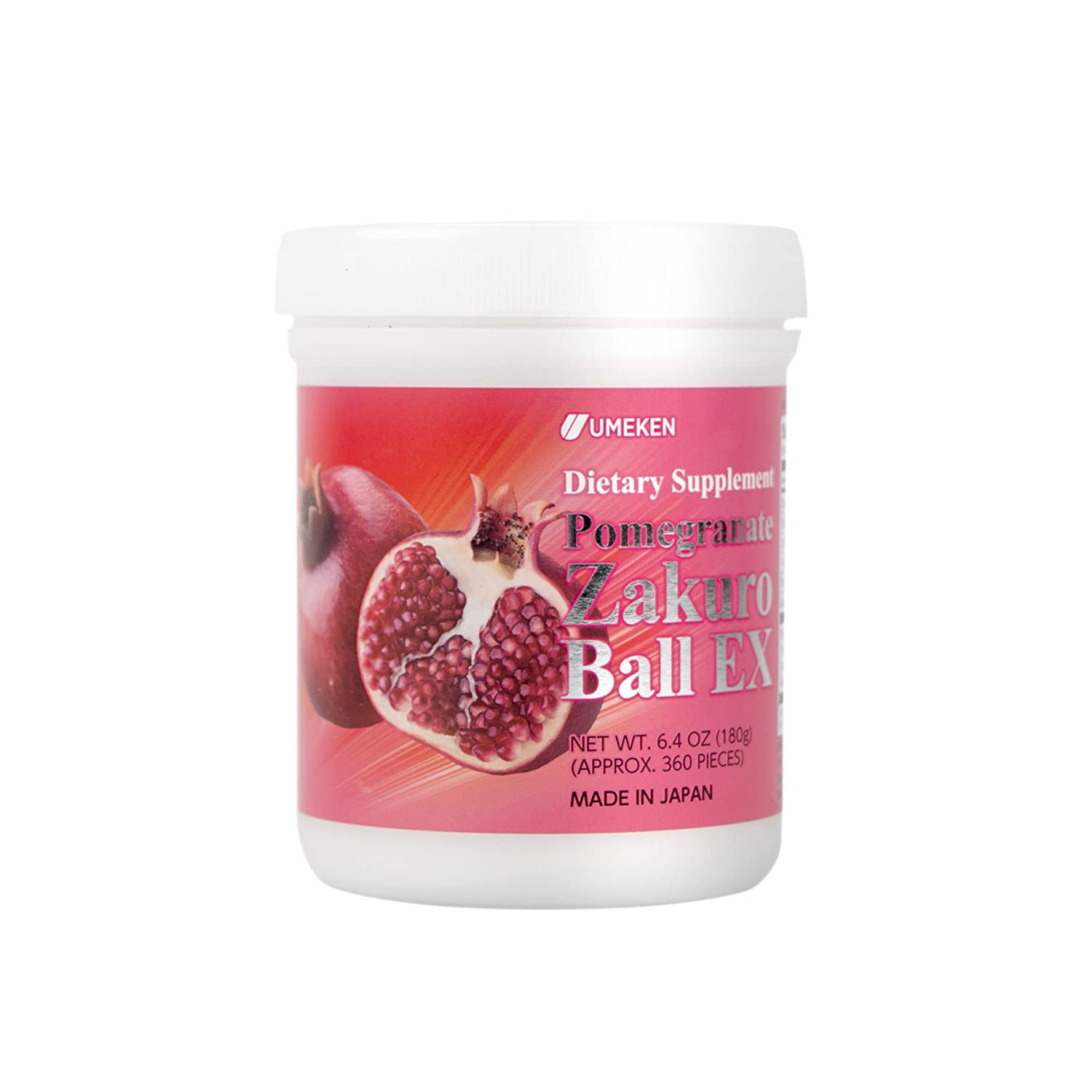 Umeken Pomegranate Zakuro Ball EX – Concentrated Pomegranate Extract, Natural Vitamins, Minerals, Citric Acids and Tannins. Chewable, Made in Japan. About a 2 Month Supply.