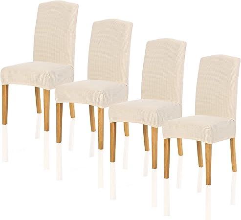 TIANSHU Fundas para sillas Pack de 4,Poliéster Elástica Fundas ...