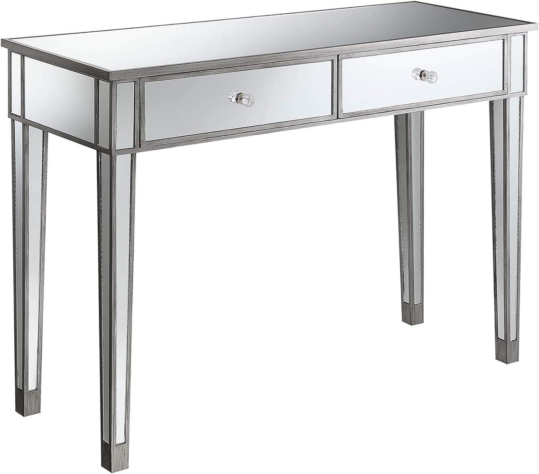 Convenience Concepts Gold Coast Mirrored Desk, Antique Silver / Mirror