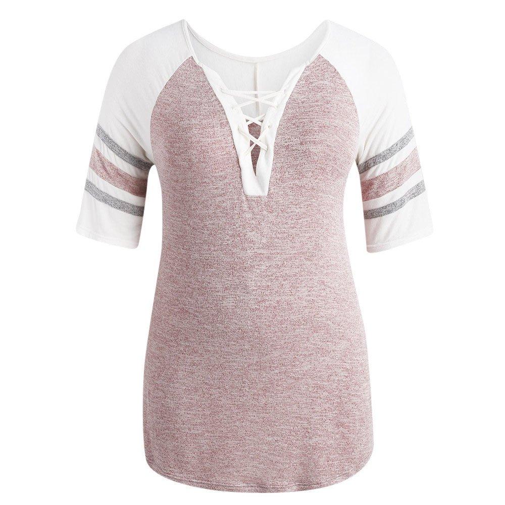 STORTO Women Plus Size Half Sleeve Tops Casual Bandage Patchwork T-Shirt Blouse