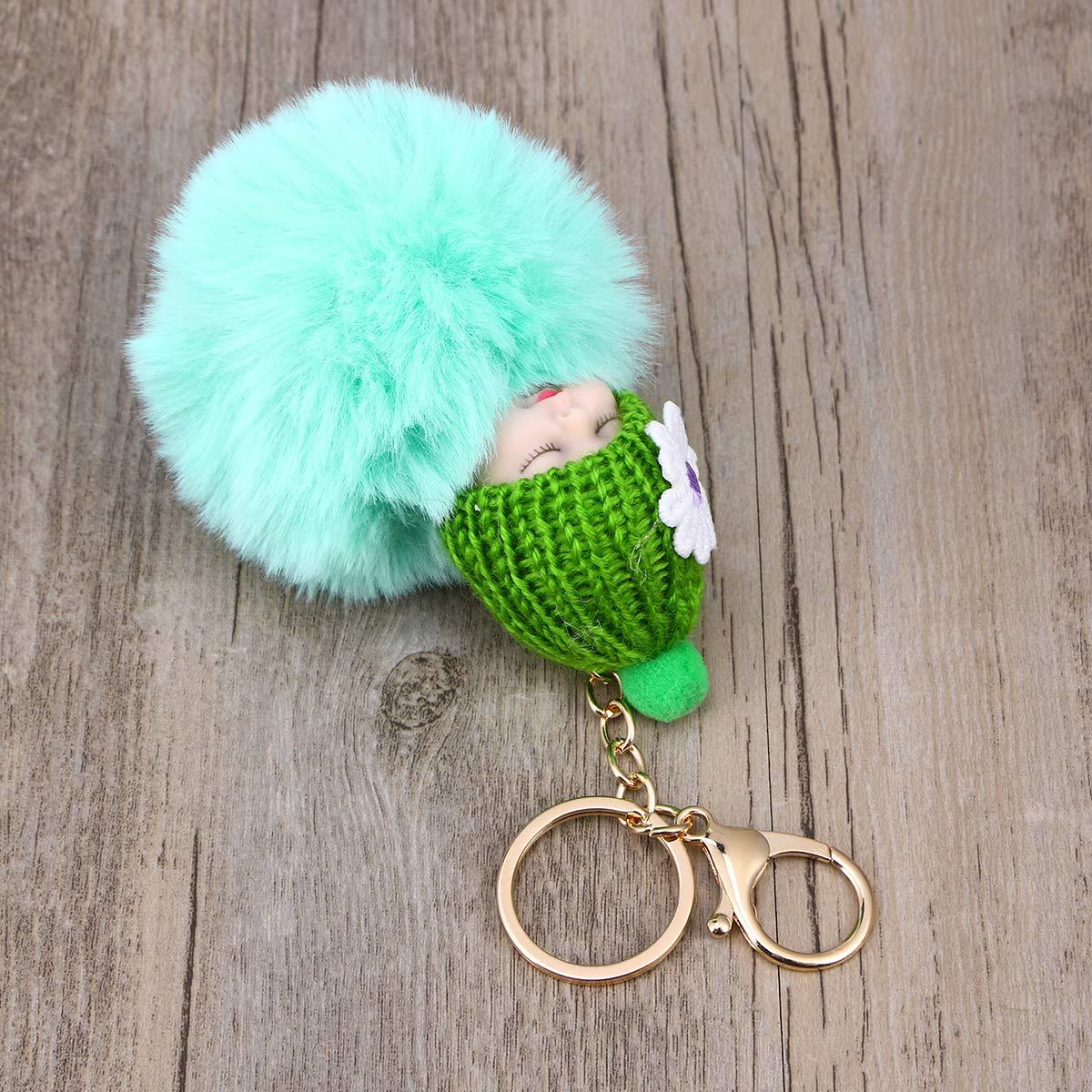 Vosarea Portachiavi Peluche Portachiavi Baby Doll Decorazioni per ciondoli Festa di Natale Verde Menta