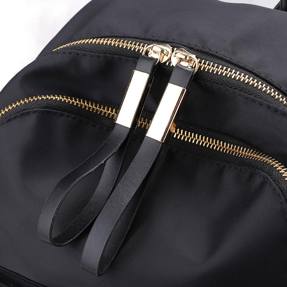 JESPER Nylon Oxford Cloth Backpack Women Backpack College Wind Bag Leisure Bag Black by JESPER (Image #7)