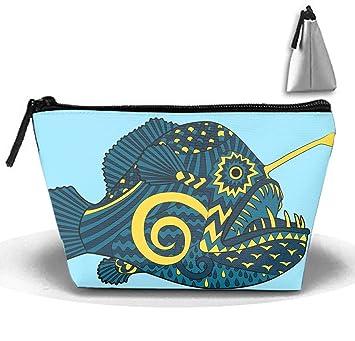 73fa110f92fa Amazon.com : Bright Colored Creepy Monk Fish Toiletry Bag, Travel ...