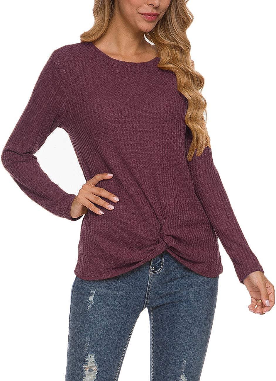 MISFAY Womens Casual Top Long Sleeve Cute Twist Knot Waffle Knit Shirts Tops