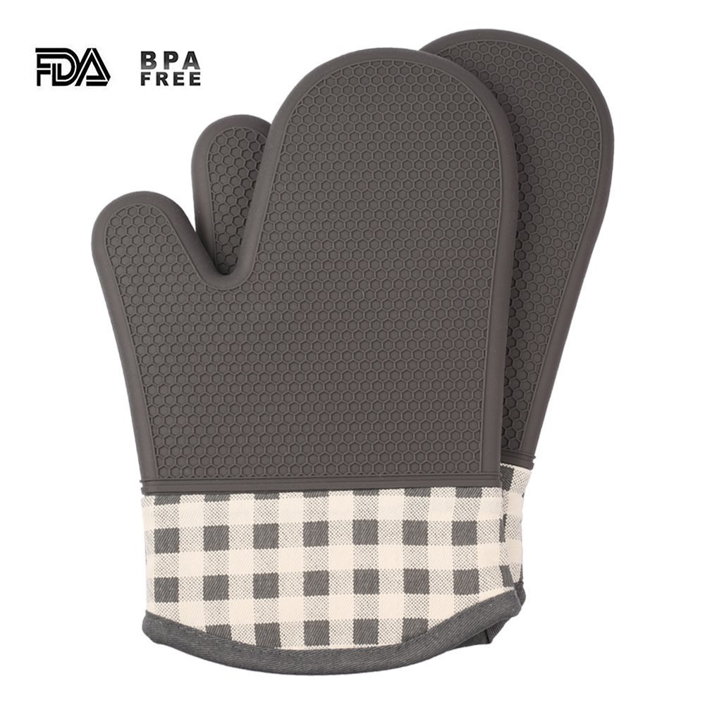 Jonhen Oven Mitts - Quilted Cotton Lining Silicone Potholder Gloves - Heat Resistant Oven Mitts for Baking,Cooking,Barbeque(BBQ) (grey)