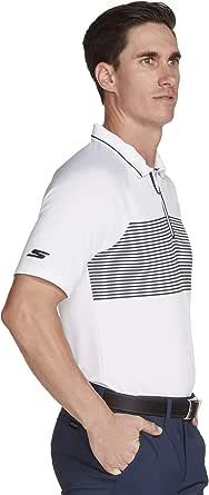 Skechers Golf Men's Fade Stripe Modern Fit Short Sleeve Zip Golf Polo