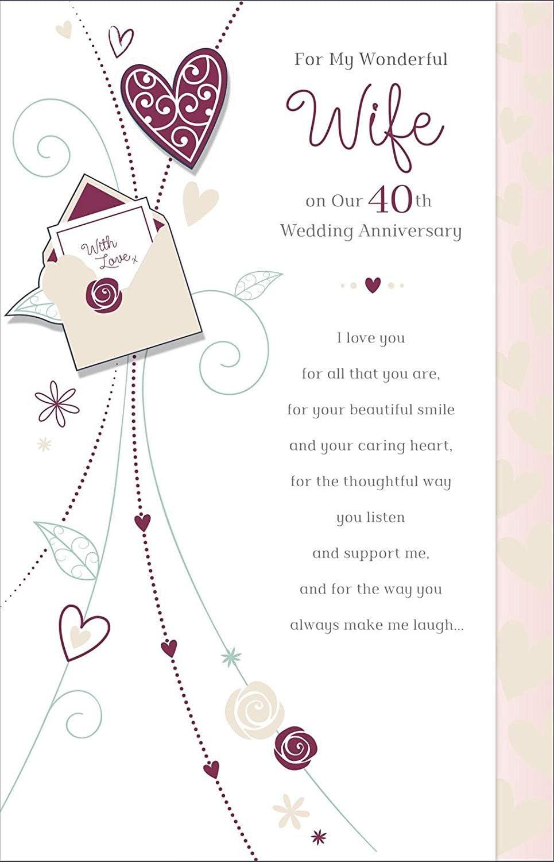 Tarjeta de felicitación de 40 aniversario de boda con texto en ...