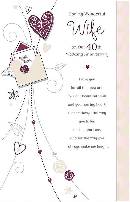 Tarjeta de felicitación de 40 aniversario de boda con texto ...