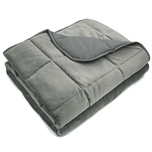 MARQUESS Weighted Blanket-41 x60 7 lbs, for Adults About 120-200 lbs, Microflannel Polyester Cover,Cotton Lining, Premium Glass Beads, Reduced Pressure, Enjoy Natural Deep Sleep Reverse (Grey, Twin)