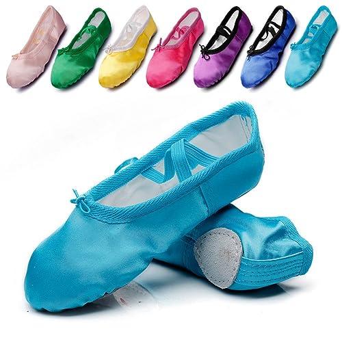 Womans Satin Ballet Flat Yoga Shoes Split-Sole Sole,Blue,4 ...