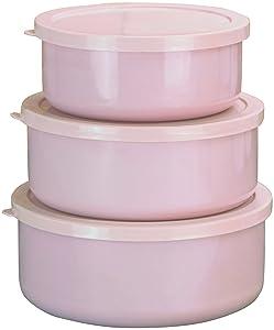 Calypso Basics by Reston Lloyd 6-Piece Enamel on Steel Bowl/Storage Set, Pink