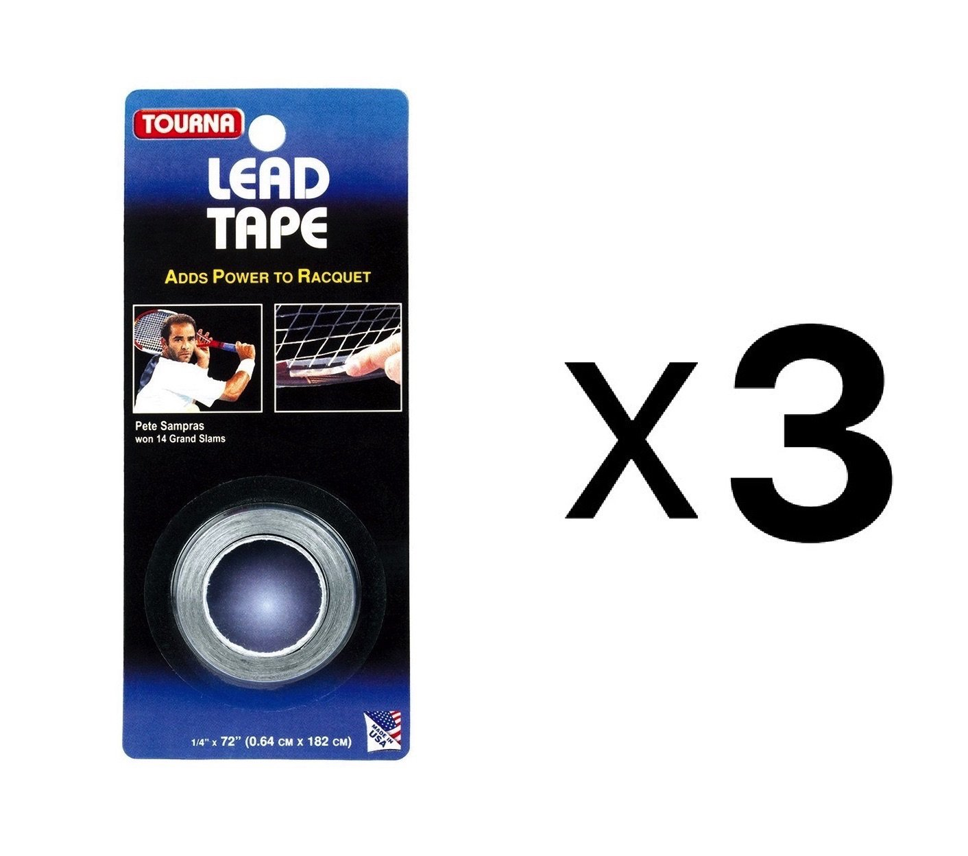 Tourna Lead Tape Tennis Racquet Racket Tape Golf Club 1/4'' X 72'' (3-Pack)