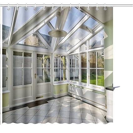 amazon com muatoo shower curtain modern winter garden with double rh amazon com