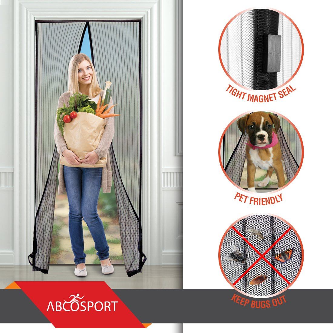 Magnetic Screen Door - Keeps The Fresh Air In And The Bugs Out - Mesh Comes W.. 18