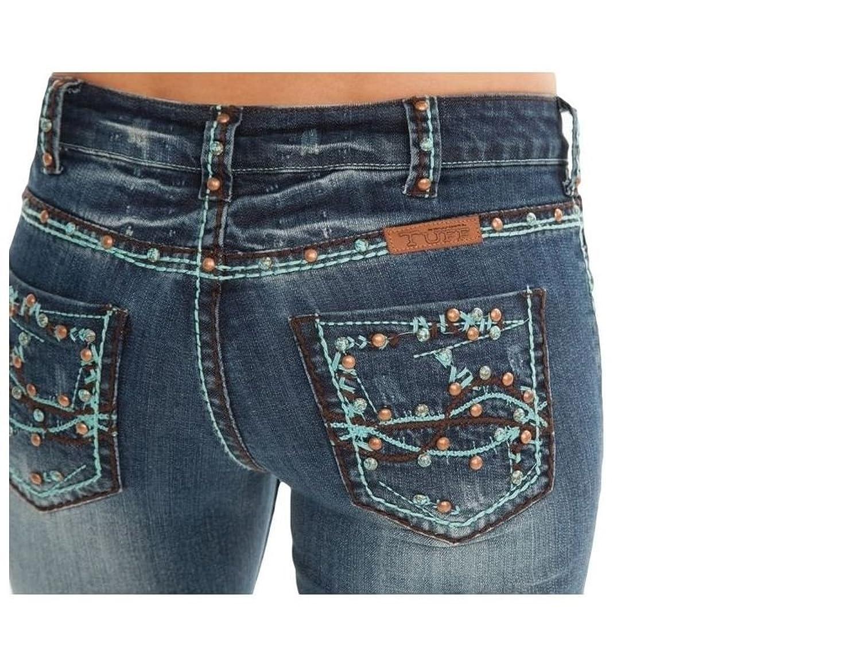 Cowgirl Tuff Western Denim Jeans Womens Southwest Rivets Med JSTHWT