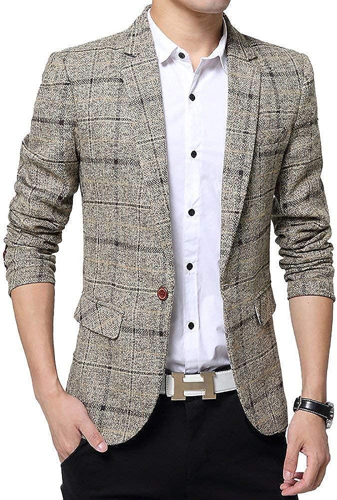 Saoye Fashion Chaqueta De Algodón A Cuadros para Hombres Chaqueta De Tweed Abrigo Ropa Elegante Formal Chaqueta Informal para Hombres De Negocios