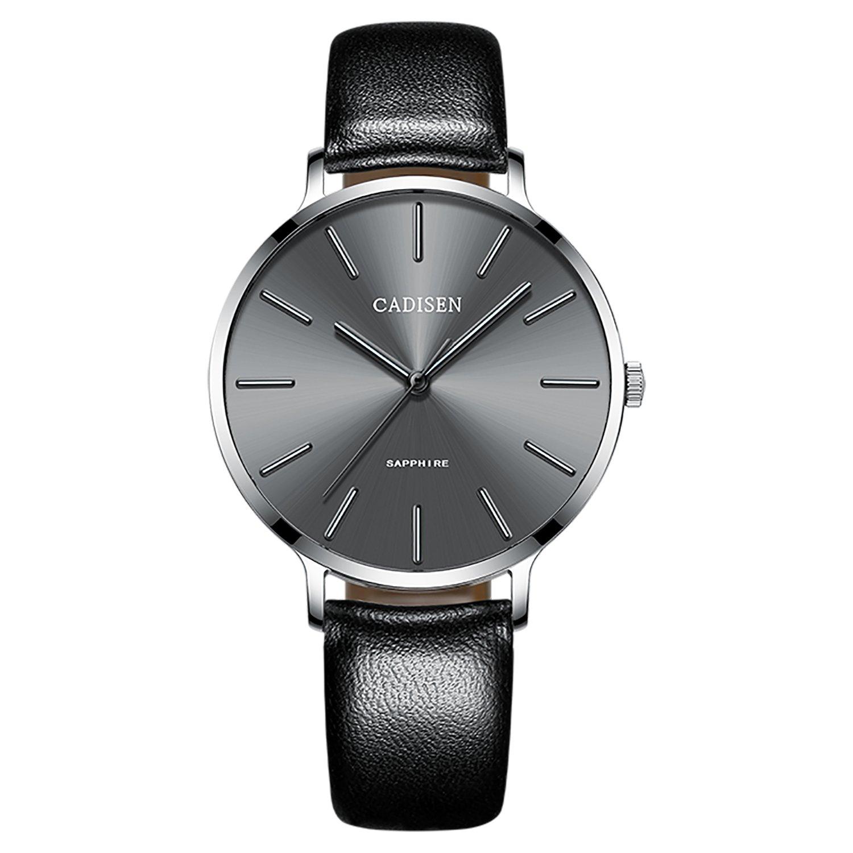 CADISEN Women s Minimalist Analog Quartz Waterproof Wrist Watch with Leather Band Black Blue