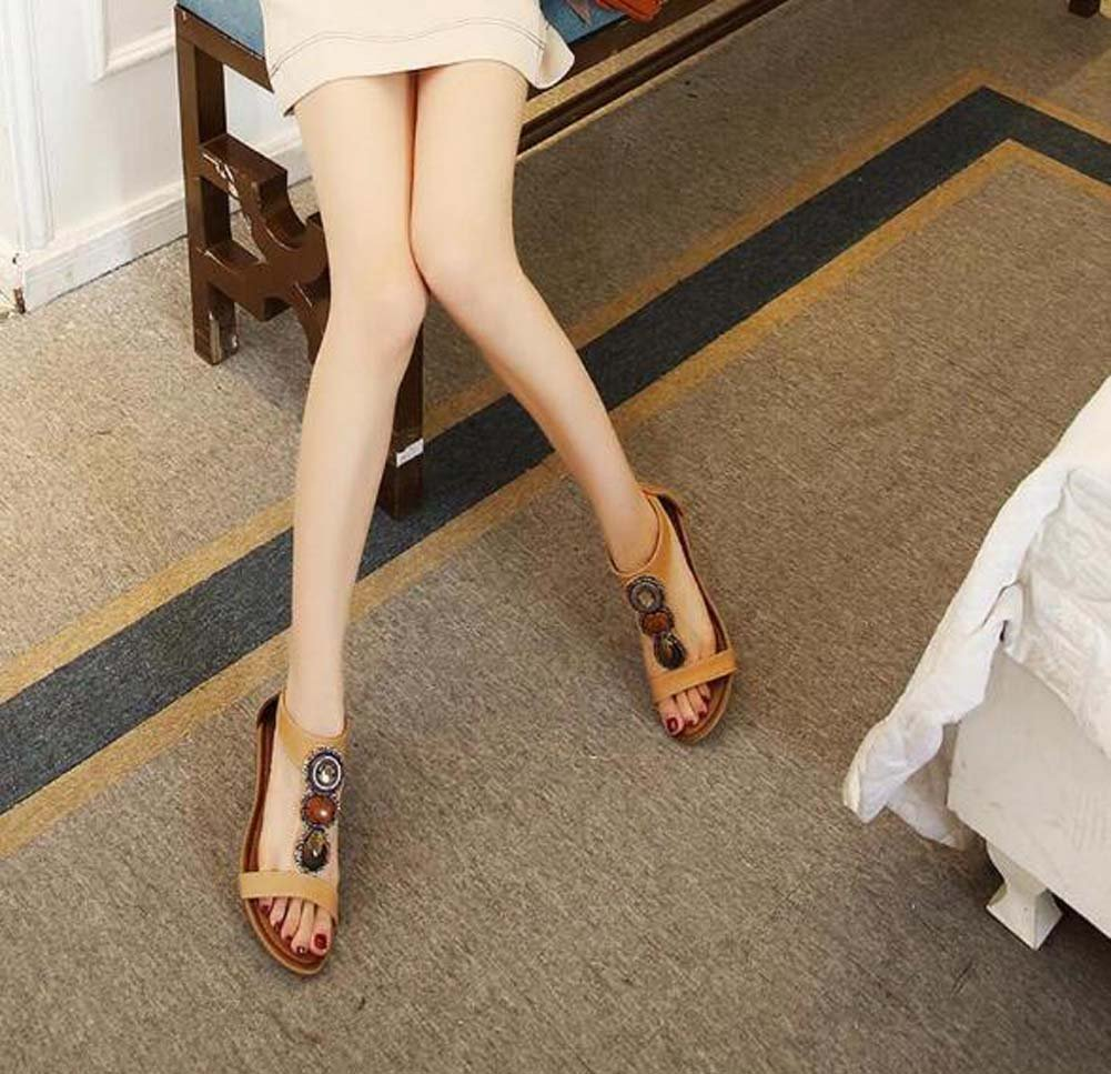 Frauen 3cm Keilabsatz Open Toe D'Orsay T-Riemen Ankle Strap Reine Kleid Schuhe Mode Reine Strap Farbe Strass Reißverschluss Bohemian Roman Schuhe Casual Meer Urlaub Schuhe Eu Größe 34-42 3c7d63