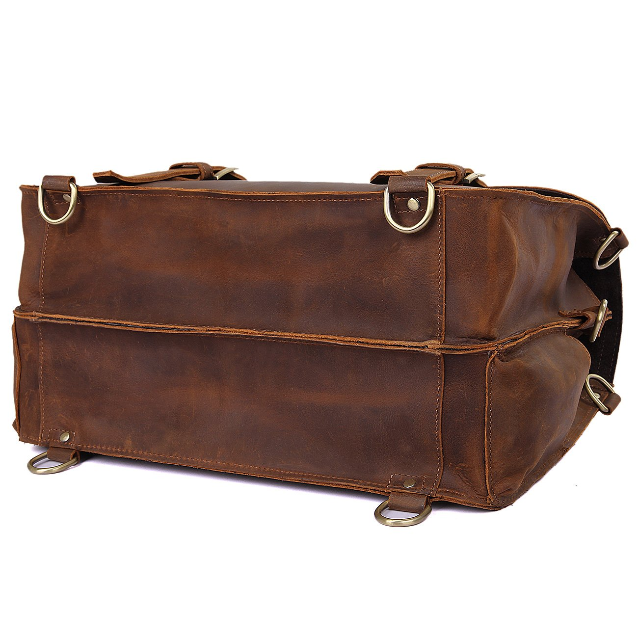 Texbo Men's Thick Cowhide Leather Messenger Bag, 16.5'' Laptop Briefcase by Texbo (Image #5)