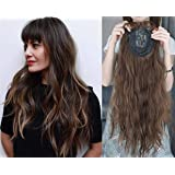 """LXUE 22"""" Wavy Hair Topper with Bangs Add Volume Hair Extension Hair Pieces for Women with Thinning Hair, 613# Blonde"""