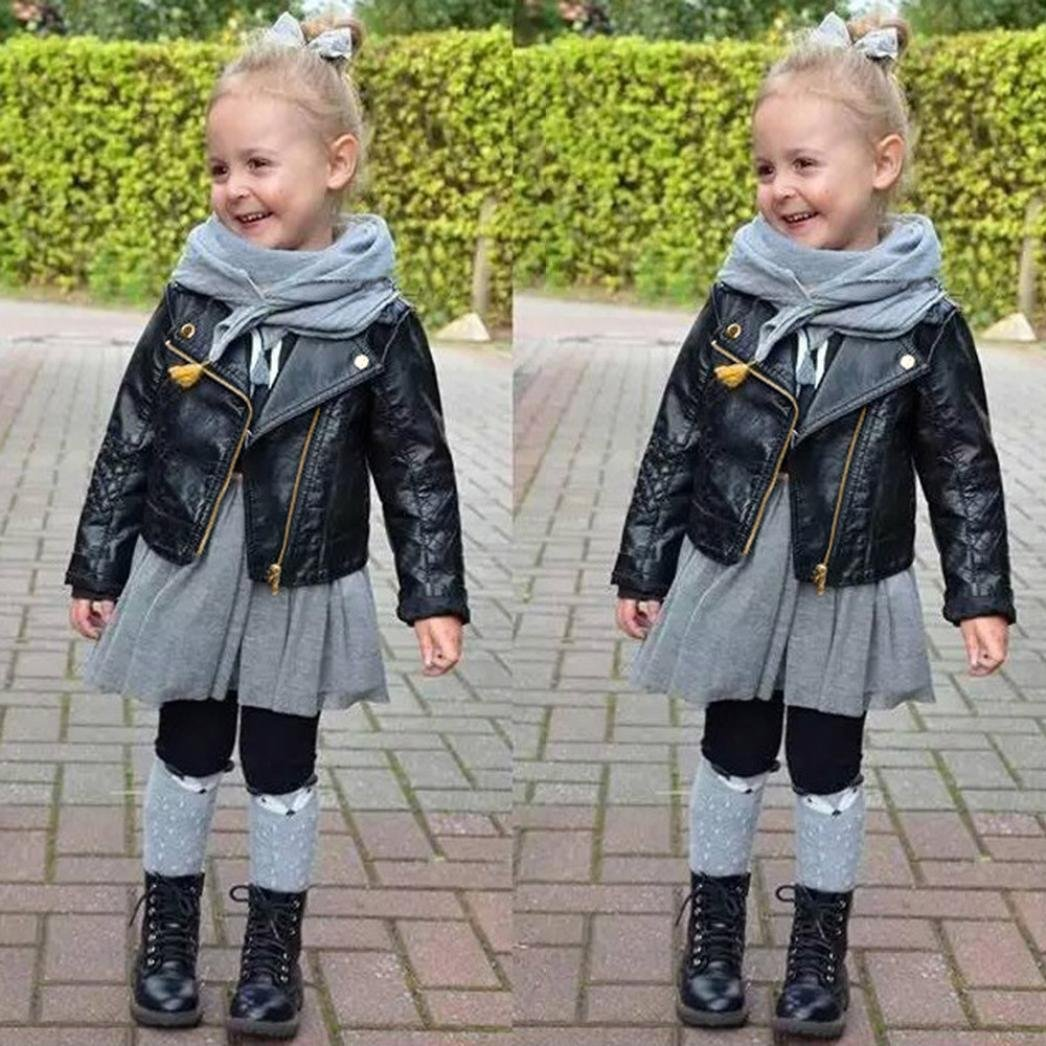 JPOQW Spring/Autumn Winter Girl Boy Kids Leather Coat Jacket (Black, 4 Years Old) by JPOQW (Image #2)
