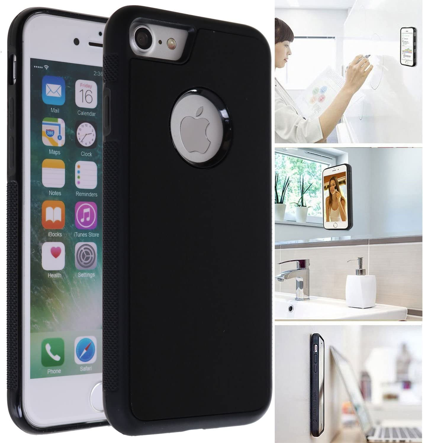 [ Monca ] Anti Gravity Cellphone Case [Black] Magical Nano Technology Stick to Wall, Glass, Whiteboards, Tile, Smooth Flat Surfaces (Goat case for iPhone 7)
