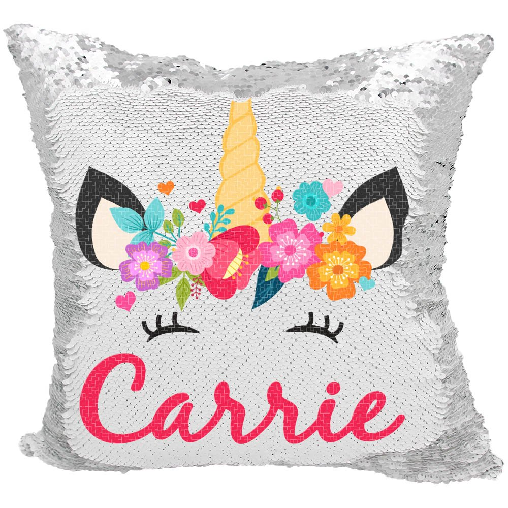 Personalized Mermaid Reversible Sequin Pillow, Custom Unicorn Hearts Sequin Pillow (White/Silver)
