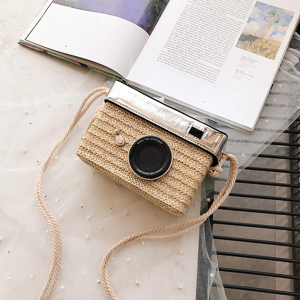 Women Straw Crossbody Bag - Girl Fashion Camera Model Handwoven Rattan Messenger Purse with Shoulder Straps - Bohemian Daypack for Beach Daily School Party (Beige) by Leadmall Bag (Image #2)